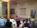 Author Laura McNeal leads a session at the 2012 Storycatcher workshop